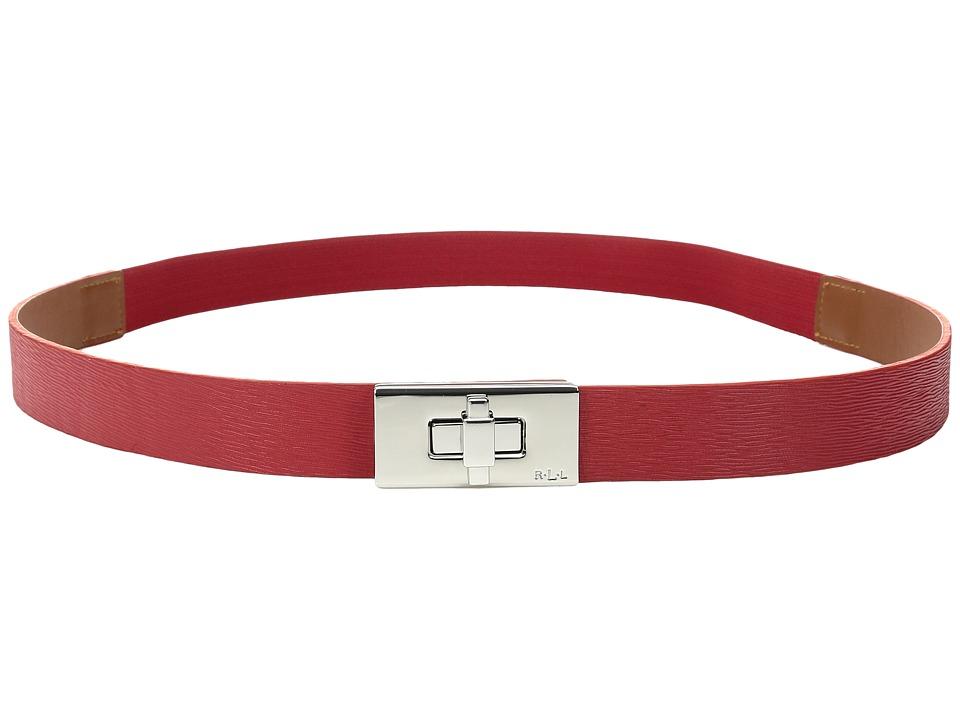LAUREN Ralph Lauren - 1 Turnlock Closure on Saffiano Tab Front Stretch (Tango Red) Women's Belts