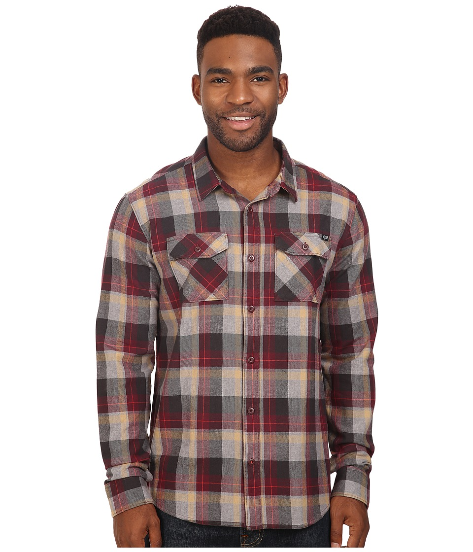 Fox - Traildust Long Sleeve Flannel (Burgundy) Men's Clothing