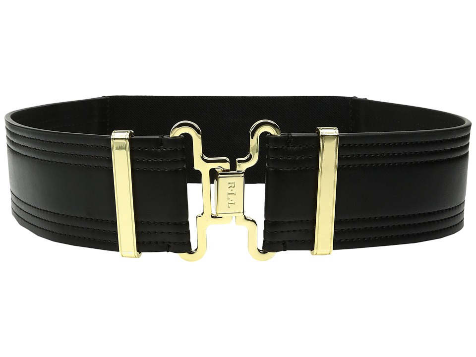 LAUREN Ralph Lauren - 2 Military Interlock Smooth Tab Front Stretch Belt (Black 1) Women's Belts