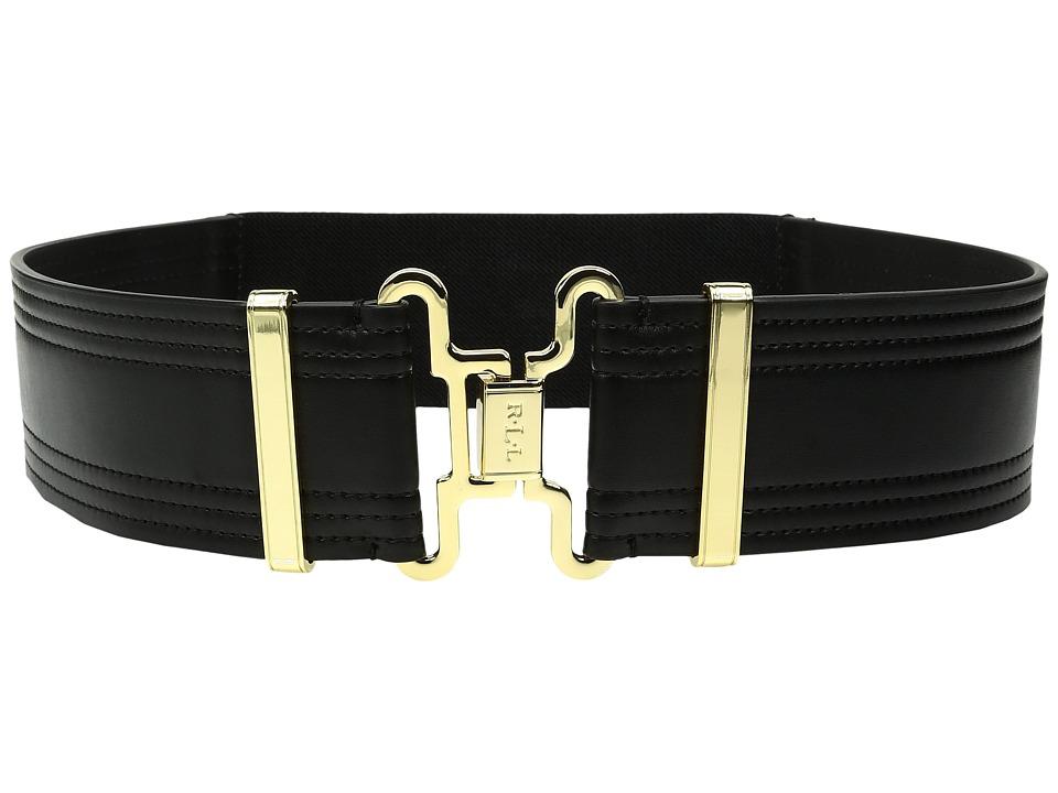 LAUREN Ralph Lauren - 2 Military Interlock Smooth Tab Front Stretch Belt (Black 1) Women's Belts