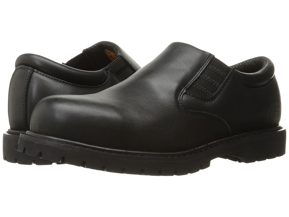 SKECHERS Work - Cottonwood - Coeburn (Black Leather) Men's Slip on Shoes