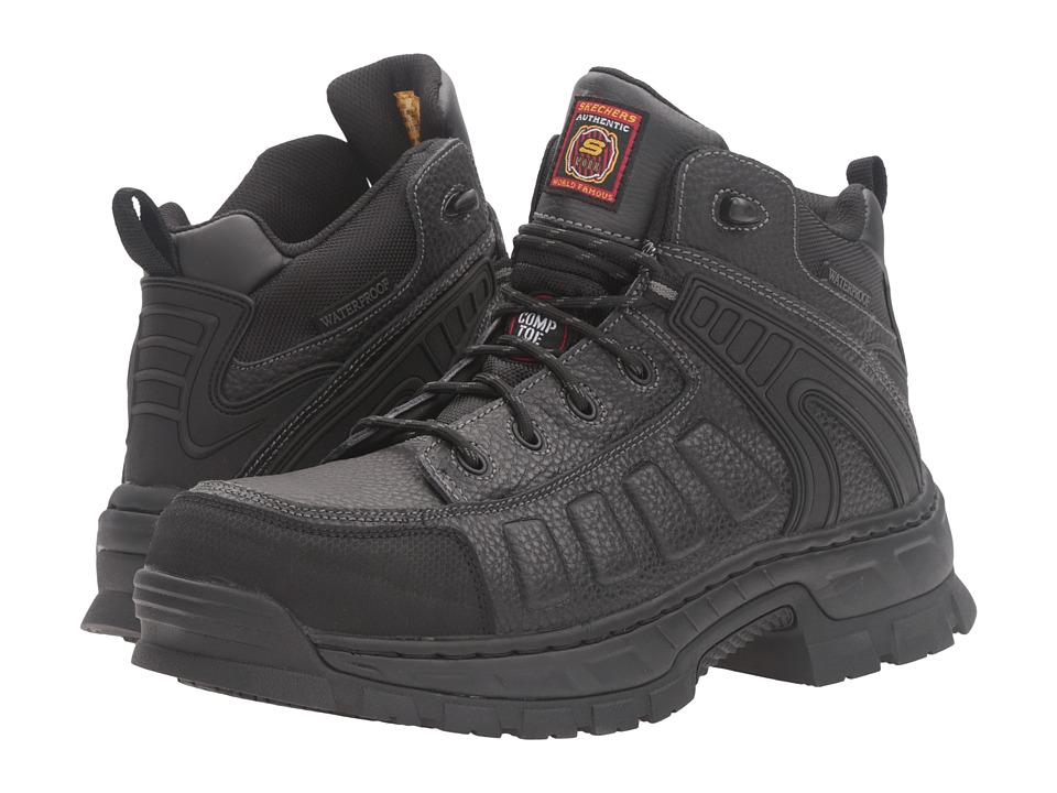 SKECHERS Work - Vinten - Gurdon (Black Embossed Leather) Men's Work Boots