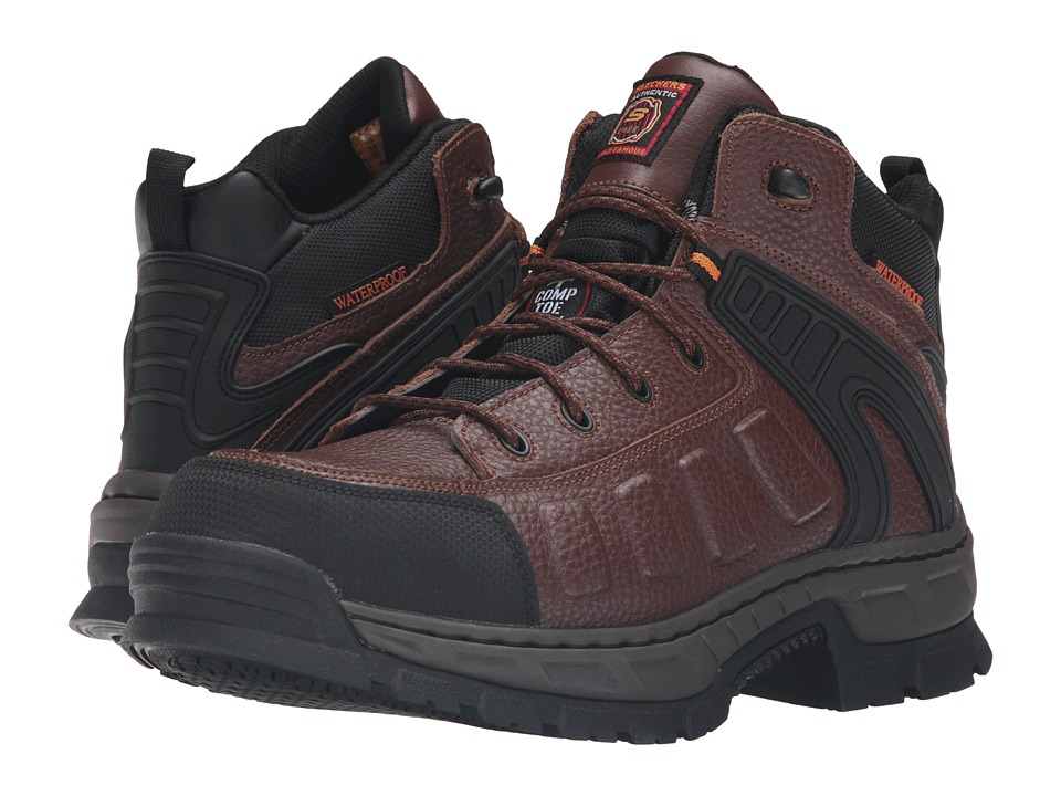 SKECHERS Work Vinten Gurdon (Brown Embossed Leather) Men