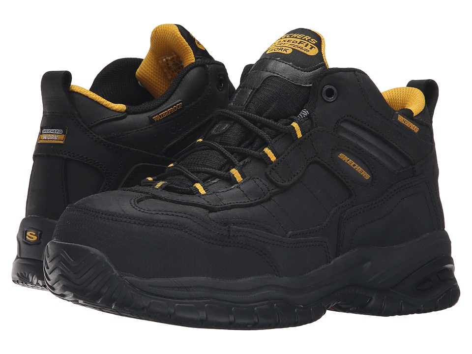 SKECHERS Work - Soft Stride - Gilbe (Black Oily Leather) Men's Lace up casual Shoes