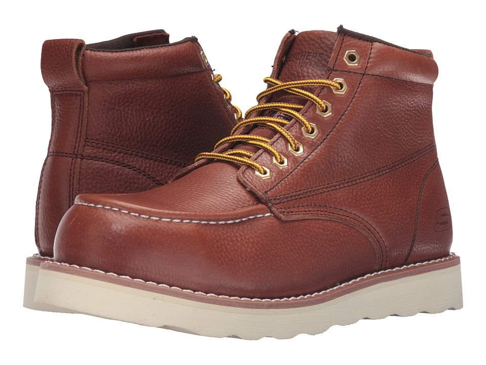 SKECHERS Work Pettus Graford (Red/Brown Pitstop Leather) Men