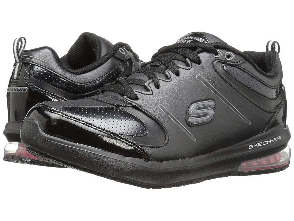 SKECHERS Work - Lingle (Black Leather) Women's Lace up casual Shoes