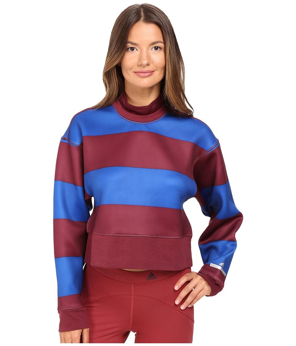 adidas by Stella McCartney Run Striped Sweatshirt AZ7694 (Solid Red/Power Blue) Women