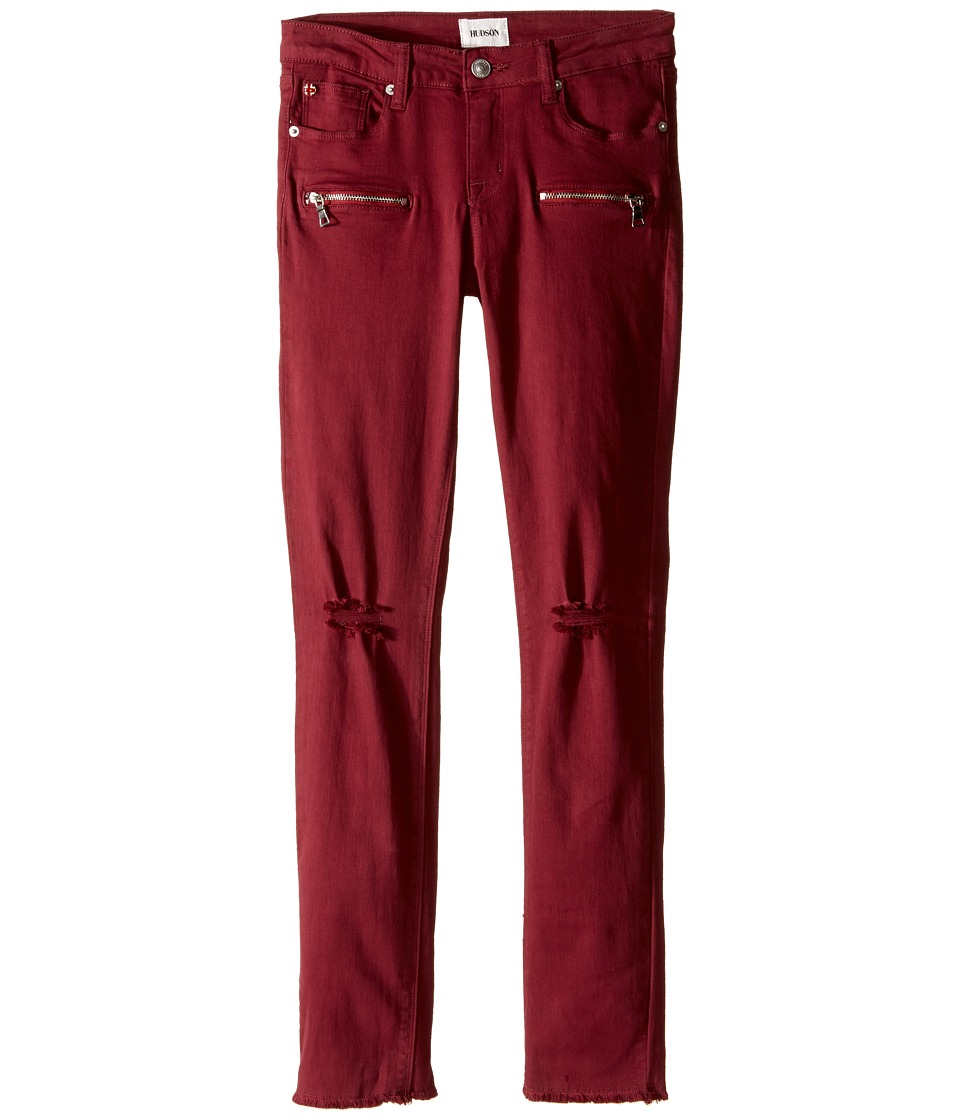 Hudson Kids - Lily Moto Five-Pocket Zipper Ankle Skinny with Fray Hem in Net Red (Big Kids) (Net Red) Girl's Jeans