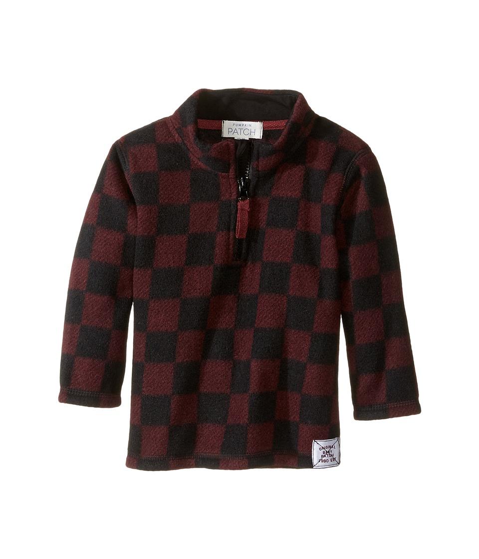 Pumpkin Patch Kids - Microfleece Check Sweater (Infant) (Zinfandel) Boy's Sweater