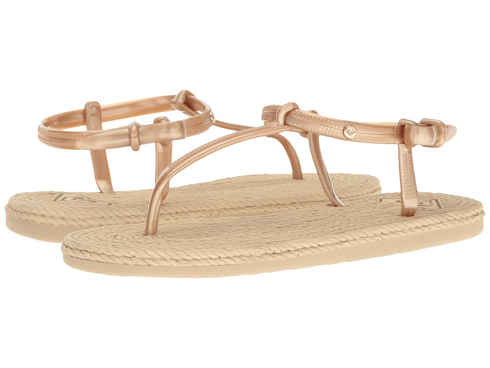 Roxy - South Beach T-Strap (Gold) Women's Sandals