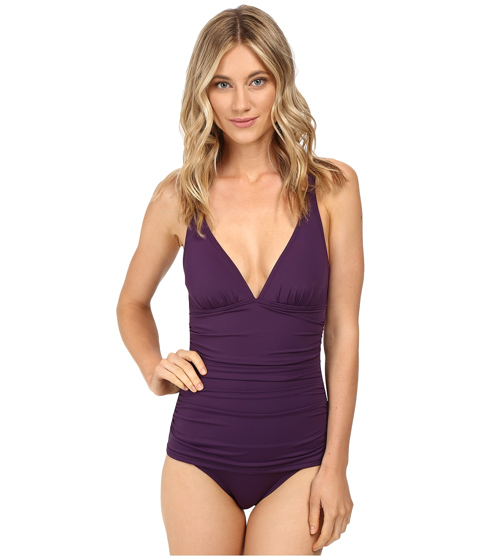 Tommy Bahama - Pearl Over-the-Shoulder V-Neck One-Piece Swimsuit (Regal Purple) Women's Swimsuits One Piece
