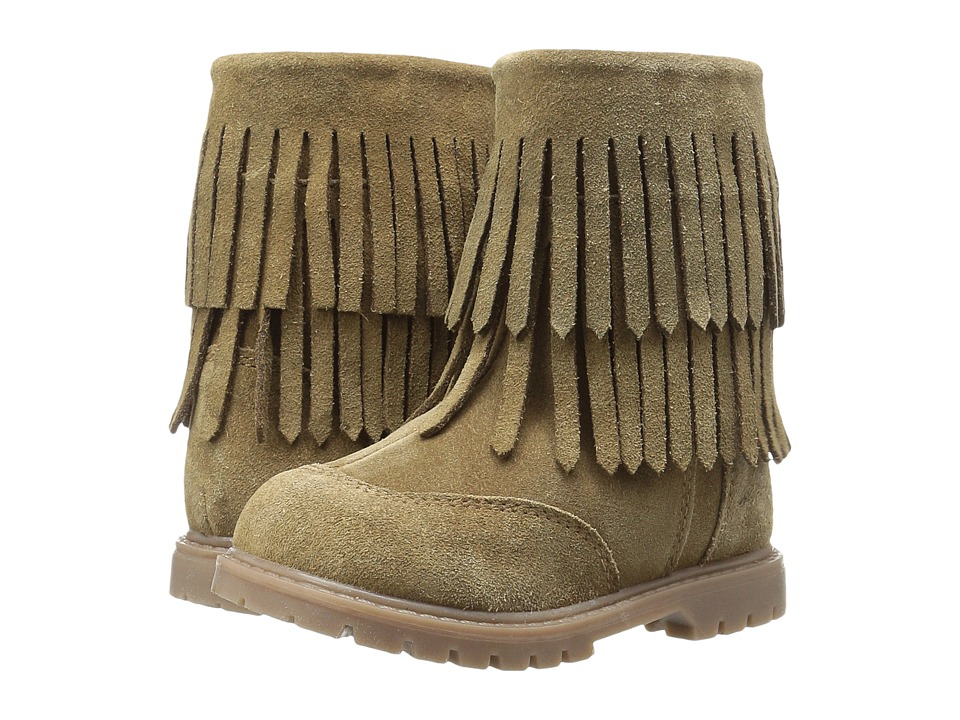 Roper Kids Fringe Moc (Toddler) (Tan Suede Vamp Shaft) Cowboy Boots