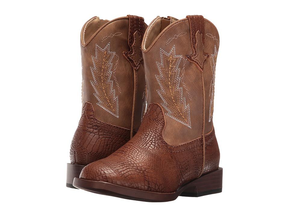 Roper Kids - Charlie (Toddler) (Brown Faux Caiman/Vamp Tan Shaft) Cowboy Boots