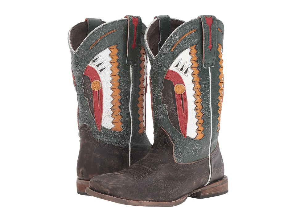 Roper Kids - Chief (Toddler/Little Kid) (Brown Leather Vamp Pieced Leather Shaft) Cowboy Boots