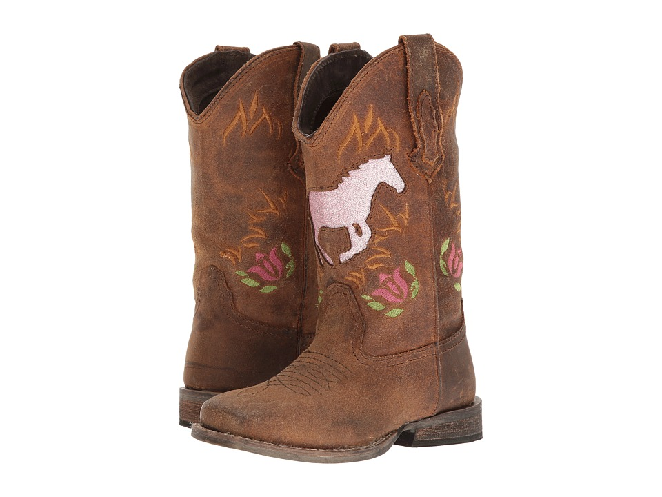 Roper Kids - Galloping Glitter (Toddler/Little Kid) (Brown Leather/Vamp Horse Glitter Shaft) Cowboy Boots