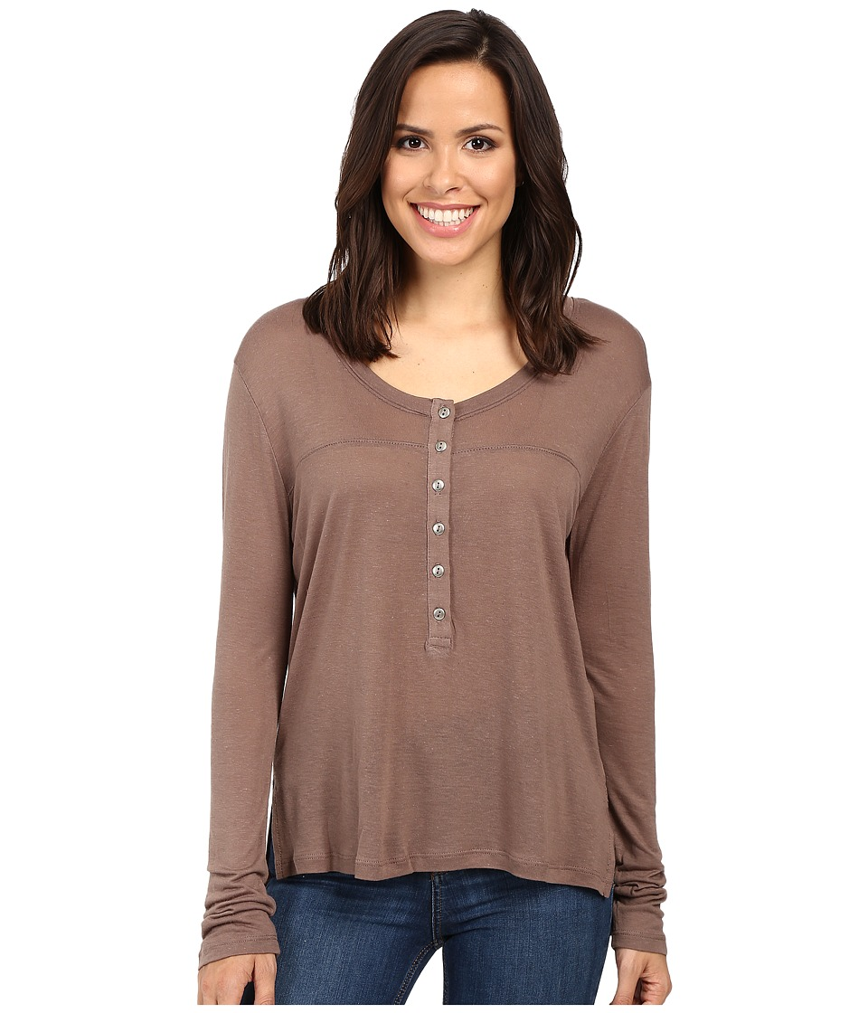 Project Social T - Parker Flax Henley (Shitake) Women's Clothing