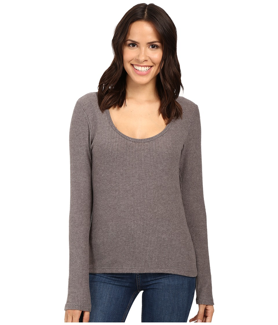 Project Social T - Fuzzy Rib Deep Scoop (Charcoal) Women's Clothing
