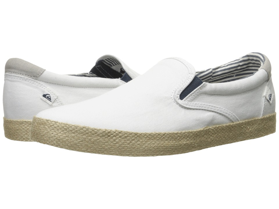 Quiksilver - Shorebreak Slip-On ESP (White/White/Brown) Men's Skate Shoes