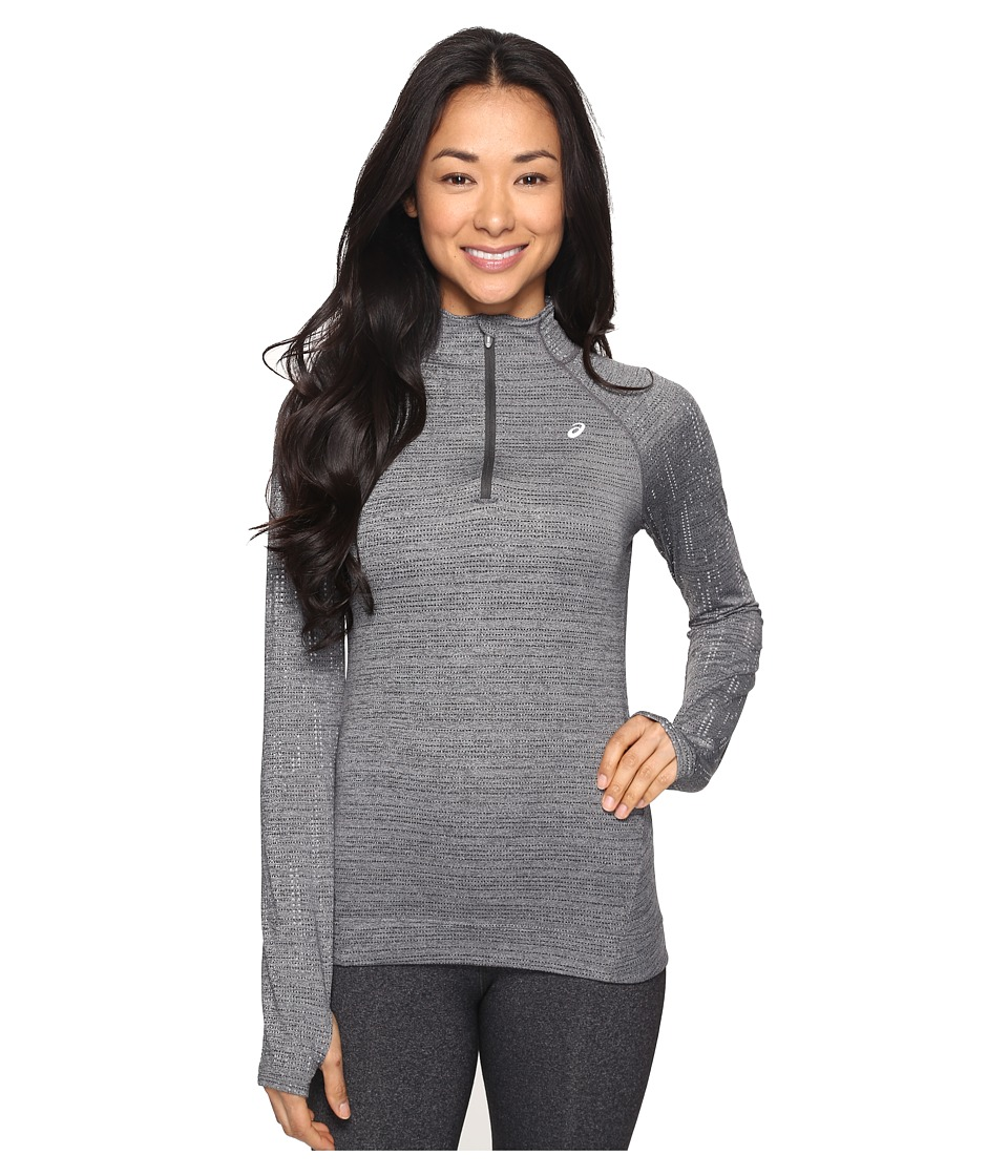 ASICS - Lite-Show 1/2 Zip Top (Mid Grey Heather) Women's Long Sleeve Pullover