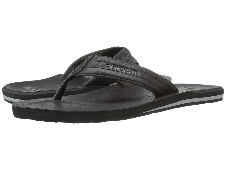 Quiksilver - Carver Nubuck (Black/Black/Grey) Men's Sandals