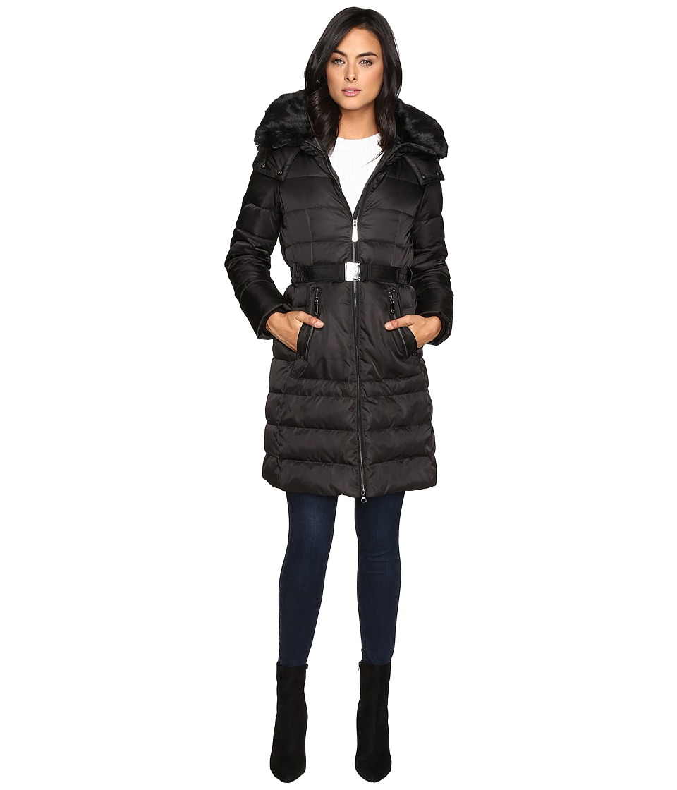 Vince Camuto - Belted Down w/ Removable Hood and Faux Fur Collar J8691 (Black) Women's Coat