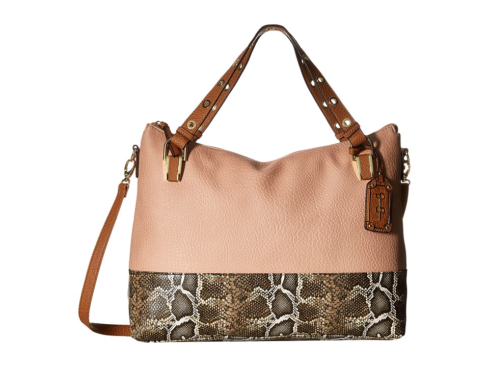 Jessica Simpson - Sutton Crossbody Tote (Dusty Rose/Brown Python/Cognac) Tote Handbags