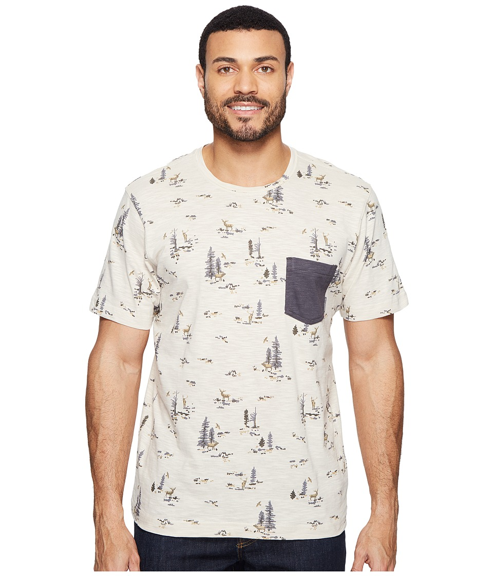 Columbia - Lookout Point Pocket Tee (Stone Deer Print/ Shark) Men's Short Sleeve Pullover