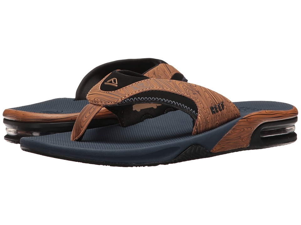 Reef - Fanning Prints (Navy/Wood) Men's Sandals