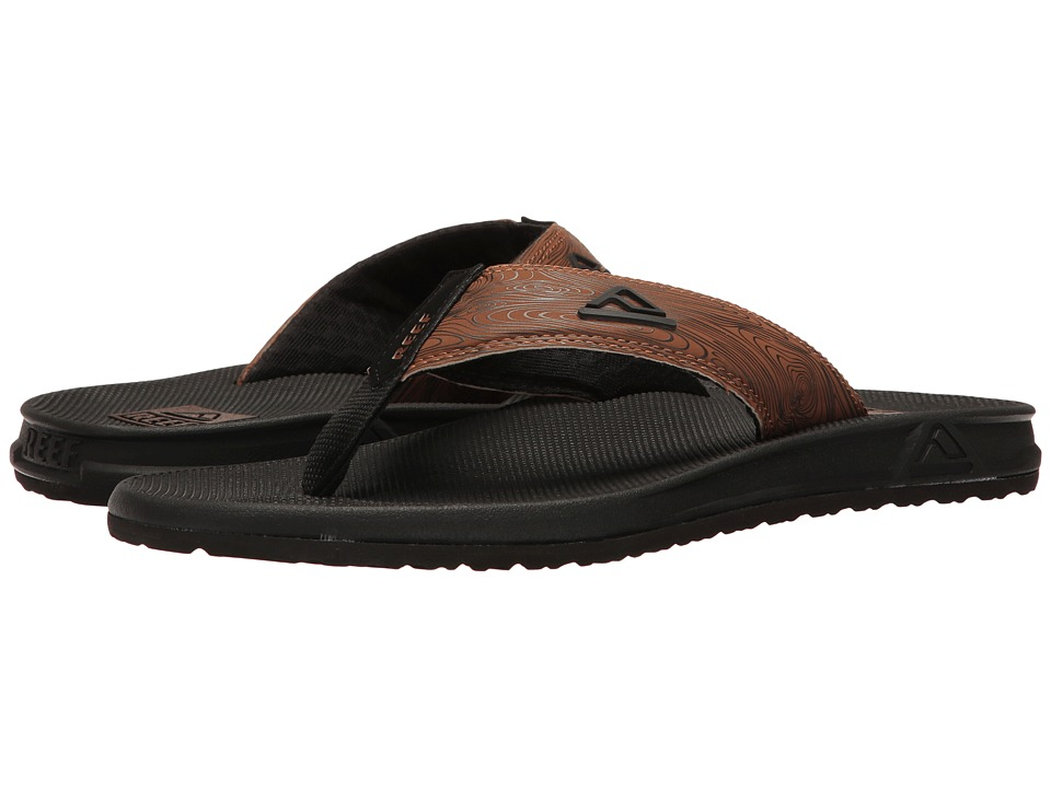 Reef - Phantom Prints (Black/Wood) Men's Sandals