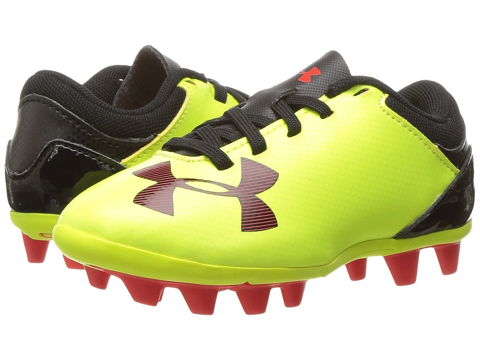 Under Armour Kids - UA Spotlight DL FG-R Soccer (Toddler/Little Kid/Big Kid) (Hi-Vis Yellow/Rocket Red/Black) Kids Shoes