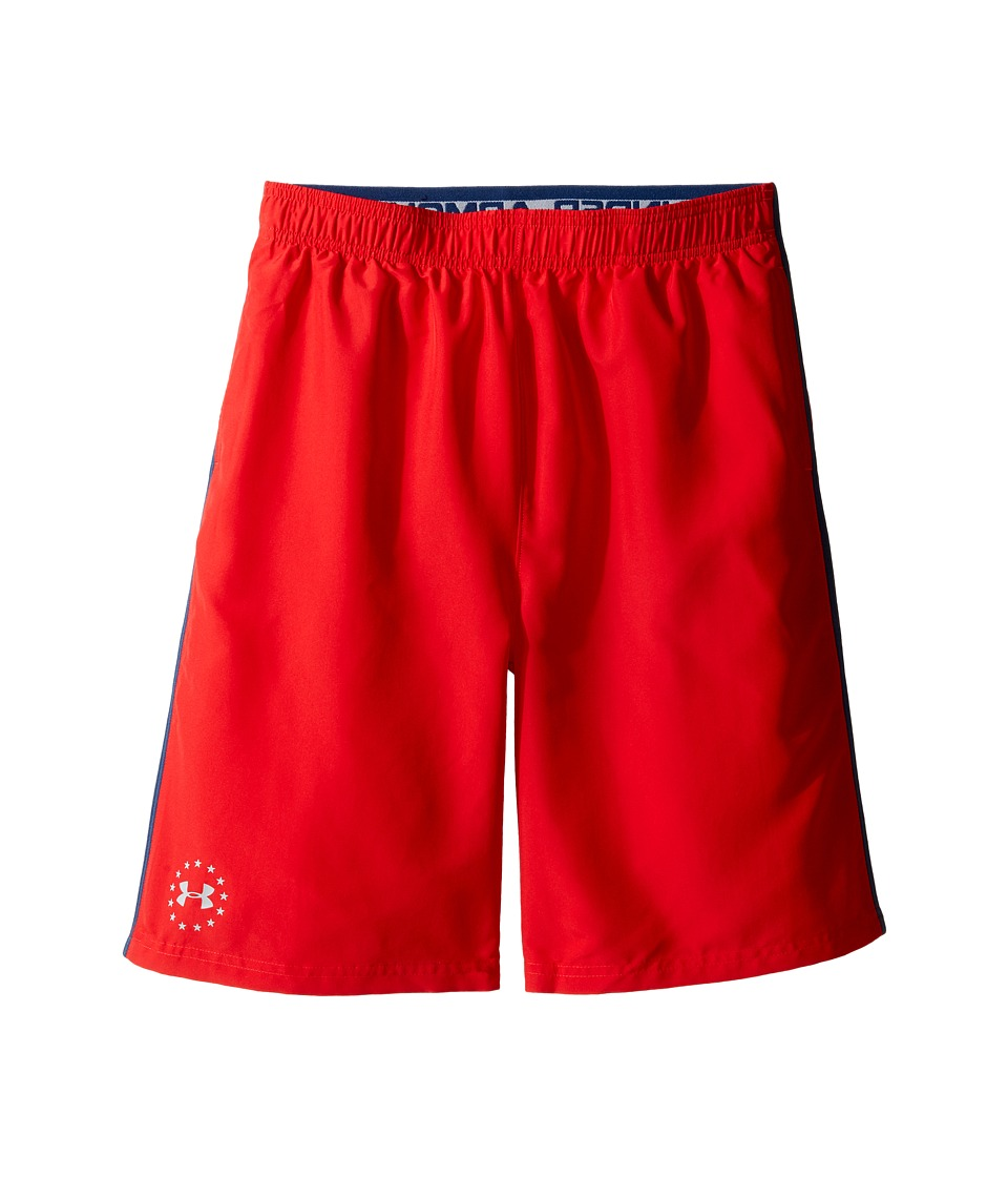 Under Armour Kids - Freedom Edge Shorts (Big Kids) (Red/Blackout Navy) Boy's Shorts