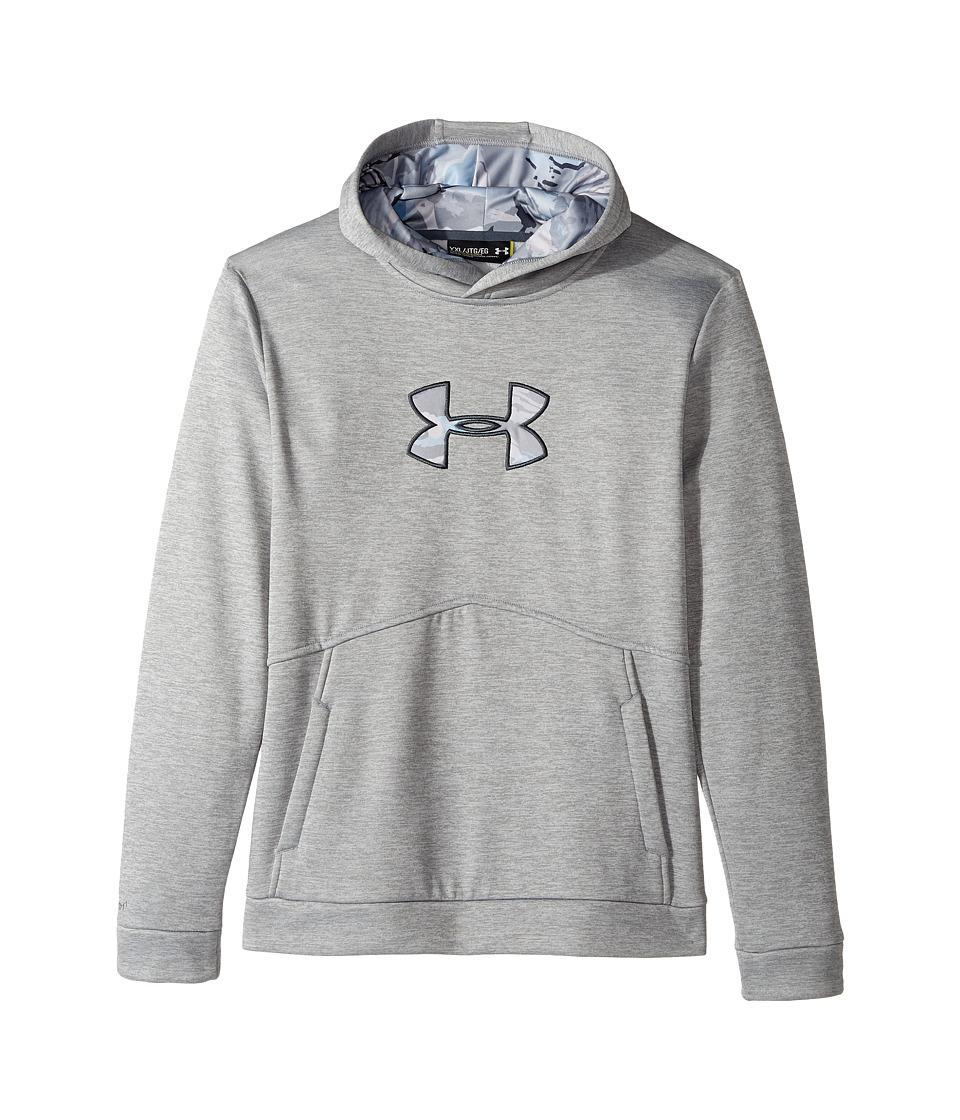 Under Armour Kids - UA Icon Caliber Hoodie (Big Kids) (True Gray Heather/Stealth Gray) Boy's Sweatshirt