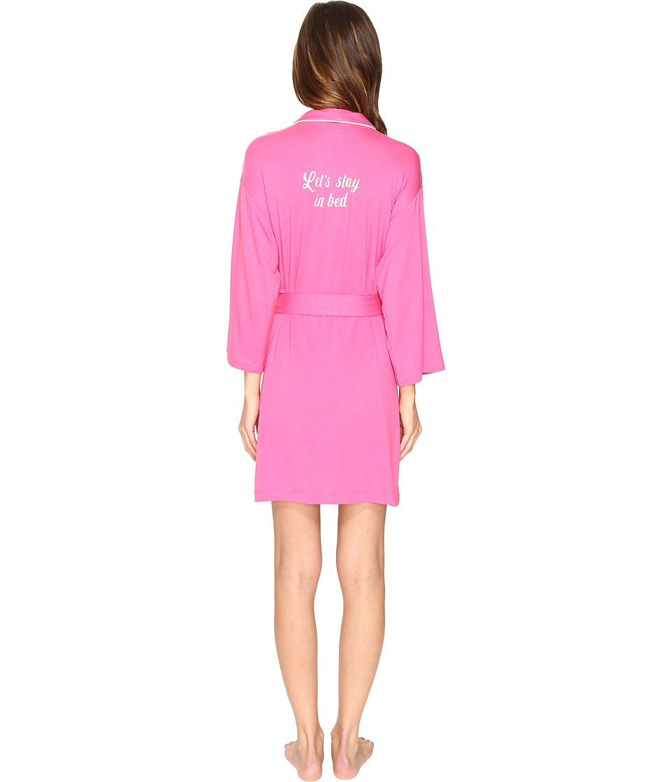 Kate Spade New York - Let's Stay in Bed Short Robe (Raspberry) Women's Robe
