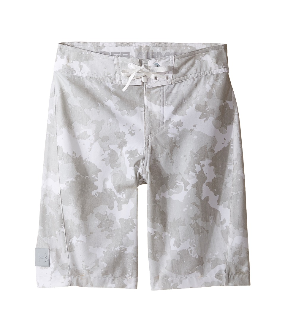 Under Armour Kids UA Barrel Boardshorts (Big Kids) (White/Overcast Gray) Boy