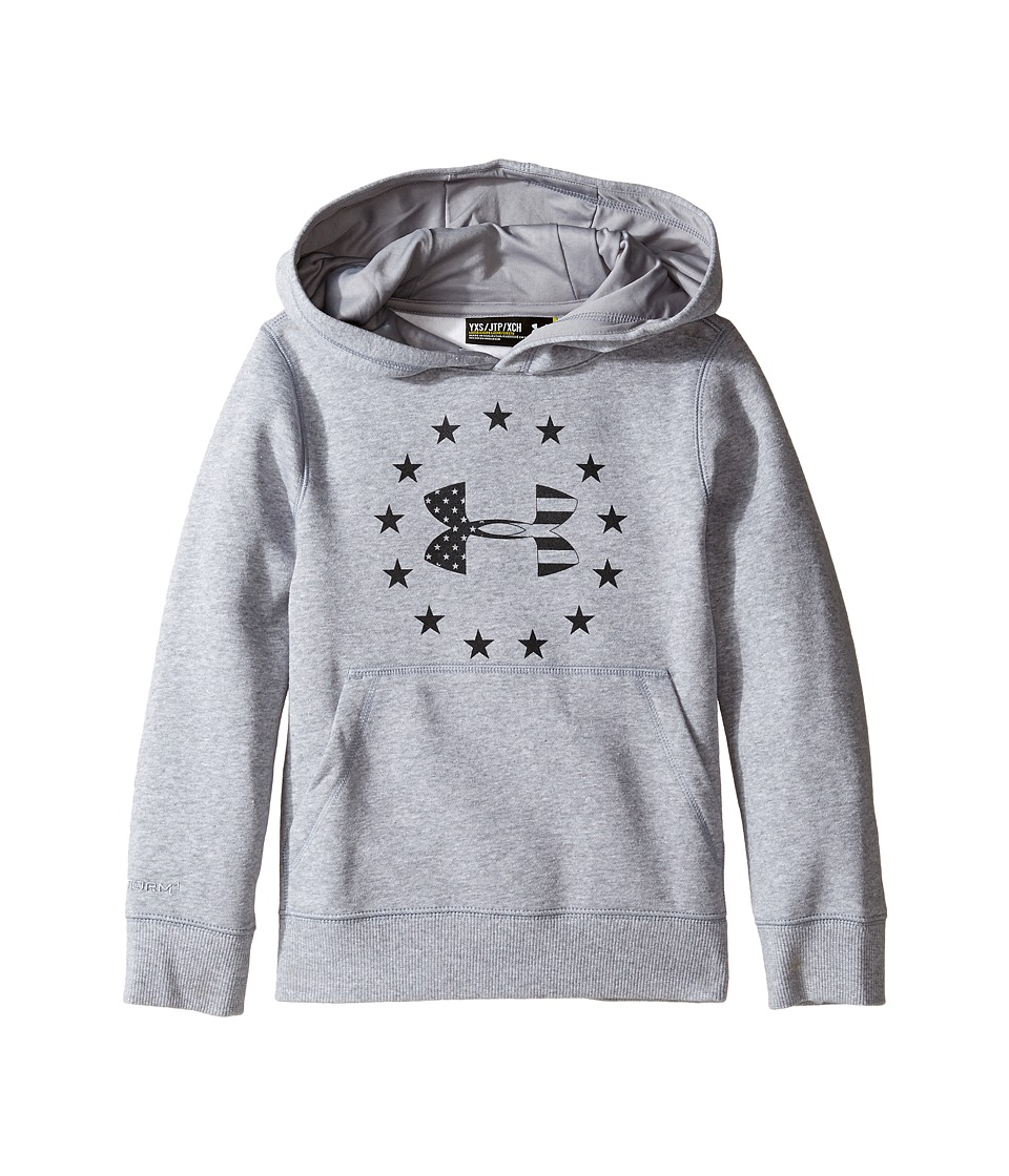 Under Armour Kids - Freedom Logo Rival Hoodie (Big Kids) (True Gray Heather/Black) Boy's Sweatshirt