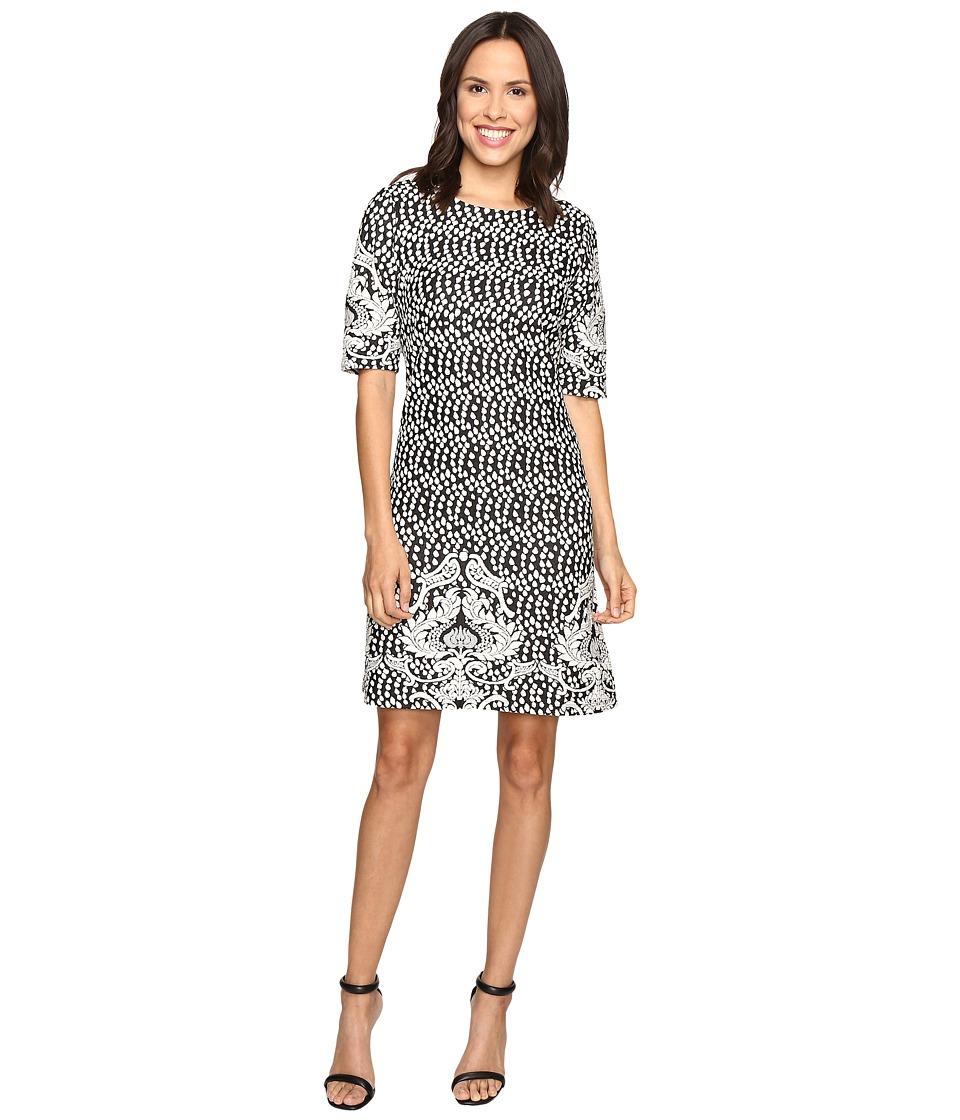 Christin Michaels Atlanta Jacquard Dress (Black/Ivory) Women