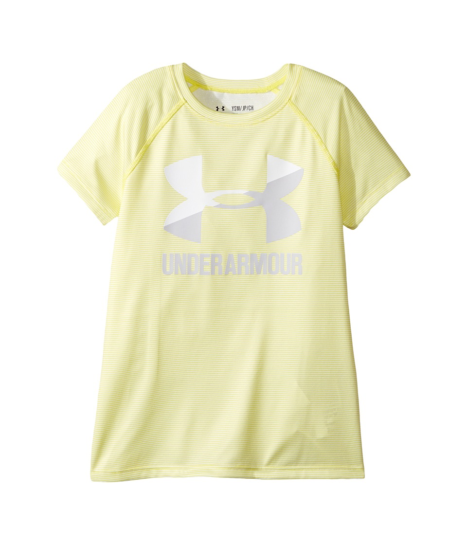 Under Armour Kids - UA Novelty Big Logo Short Sleeve Tee (Big Kids) (Playful Peach/Lavender Ice) Girl's T Shirt