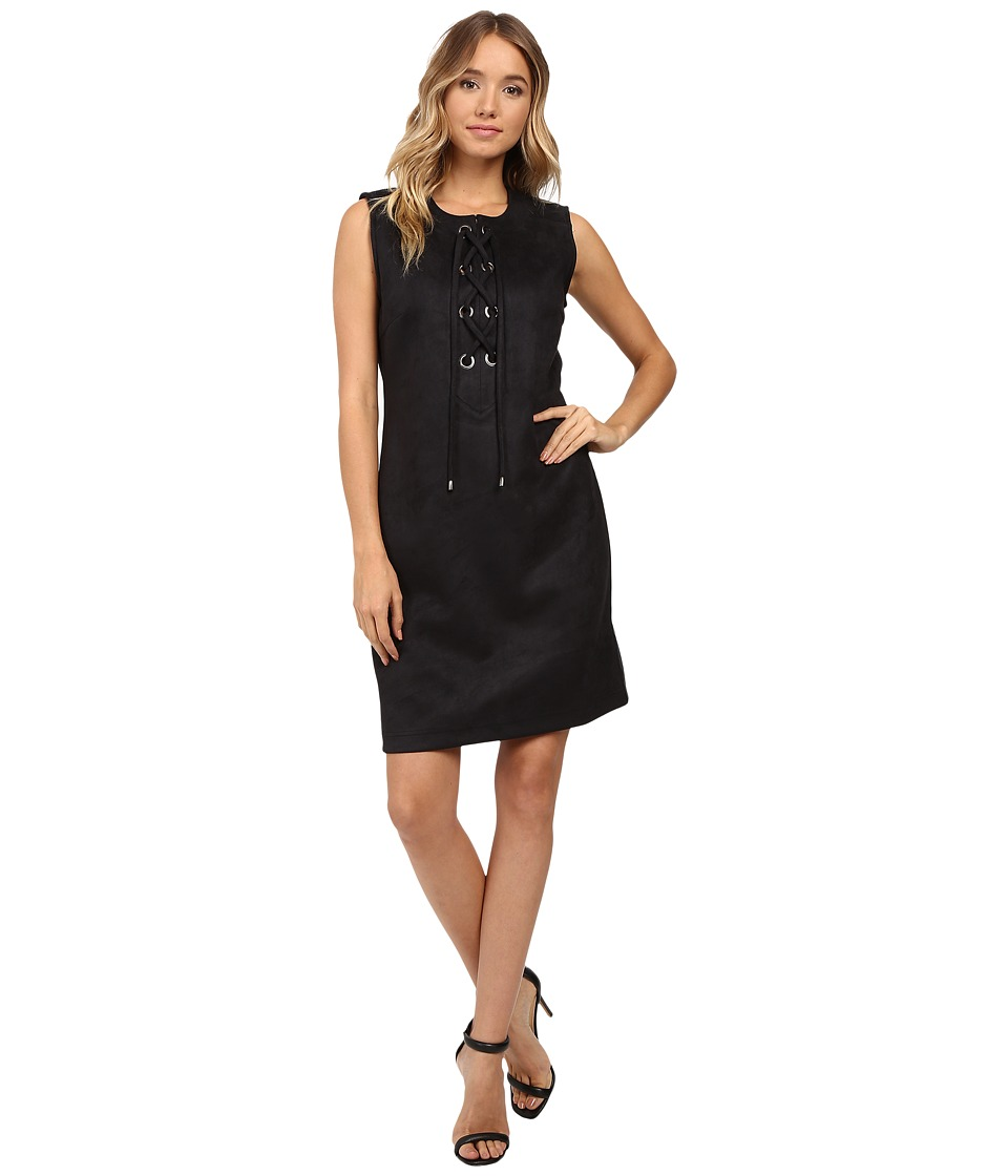 Christin Michaels Decatur Suede Dress (Black) Women