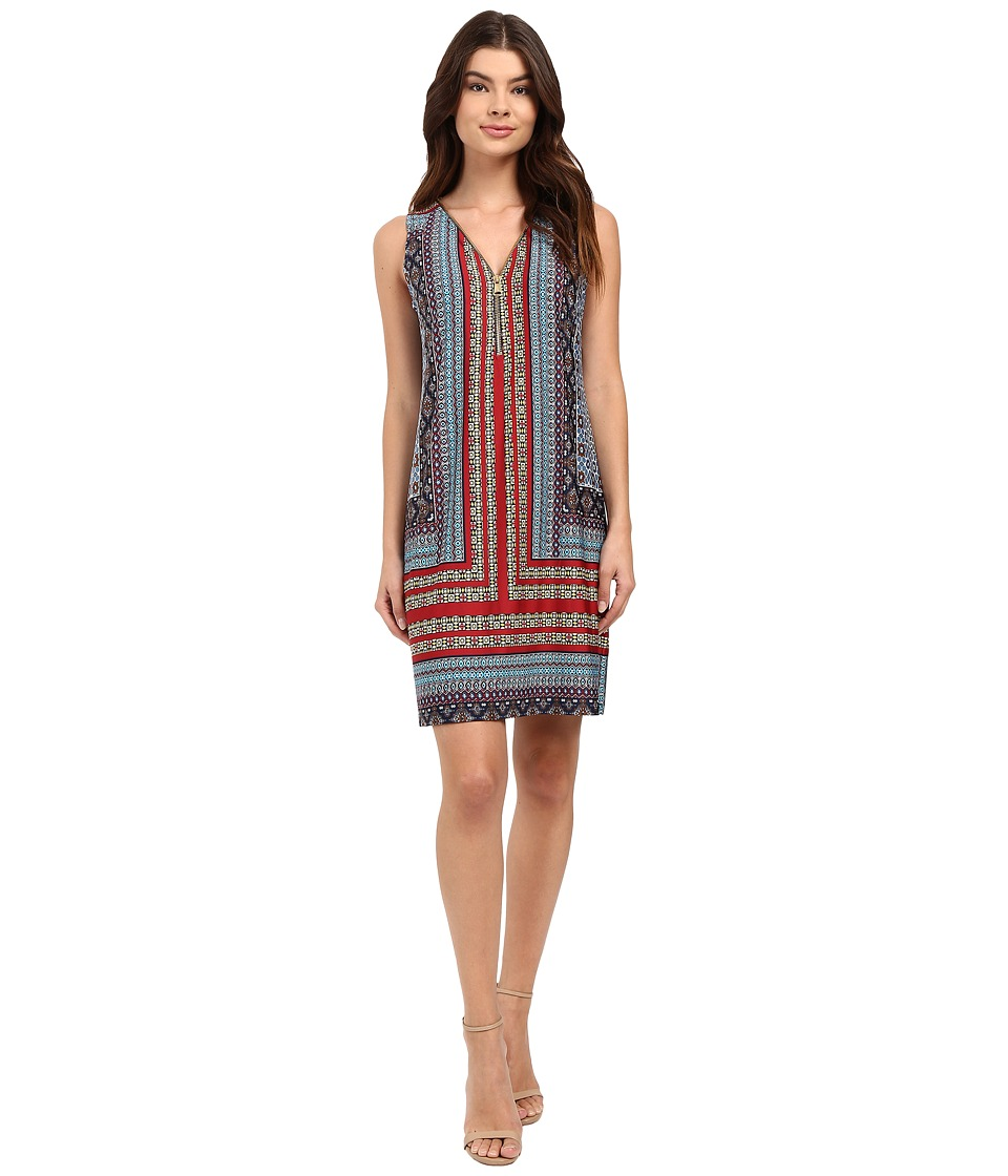 Christin Michaels - Julie Printed Shift Dress (Navy/Rust/Blue) Women's Dress