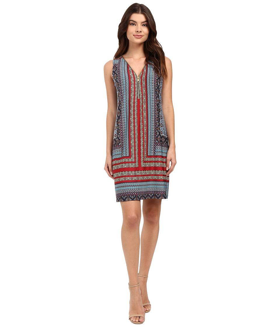 Christin Michaels - Julie Printed Shift Dress (Navy/Rust/Blue) Women's Dress