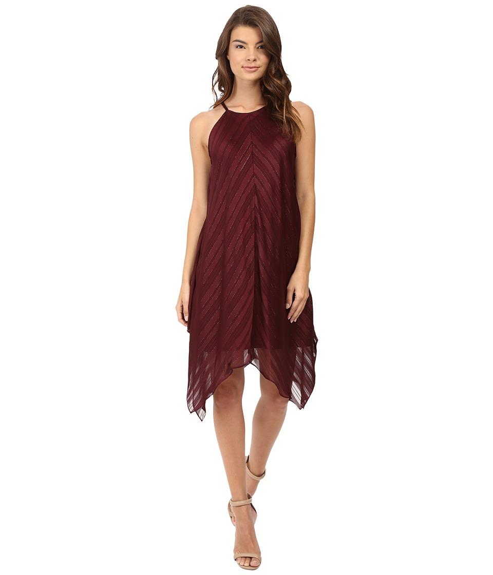 Christin Michaels Franklin Rose Halter Dress (Burgundy) Women