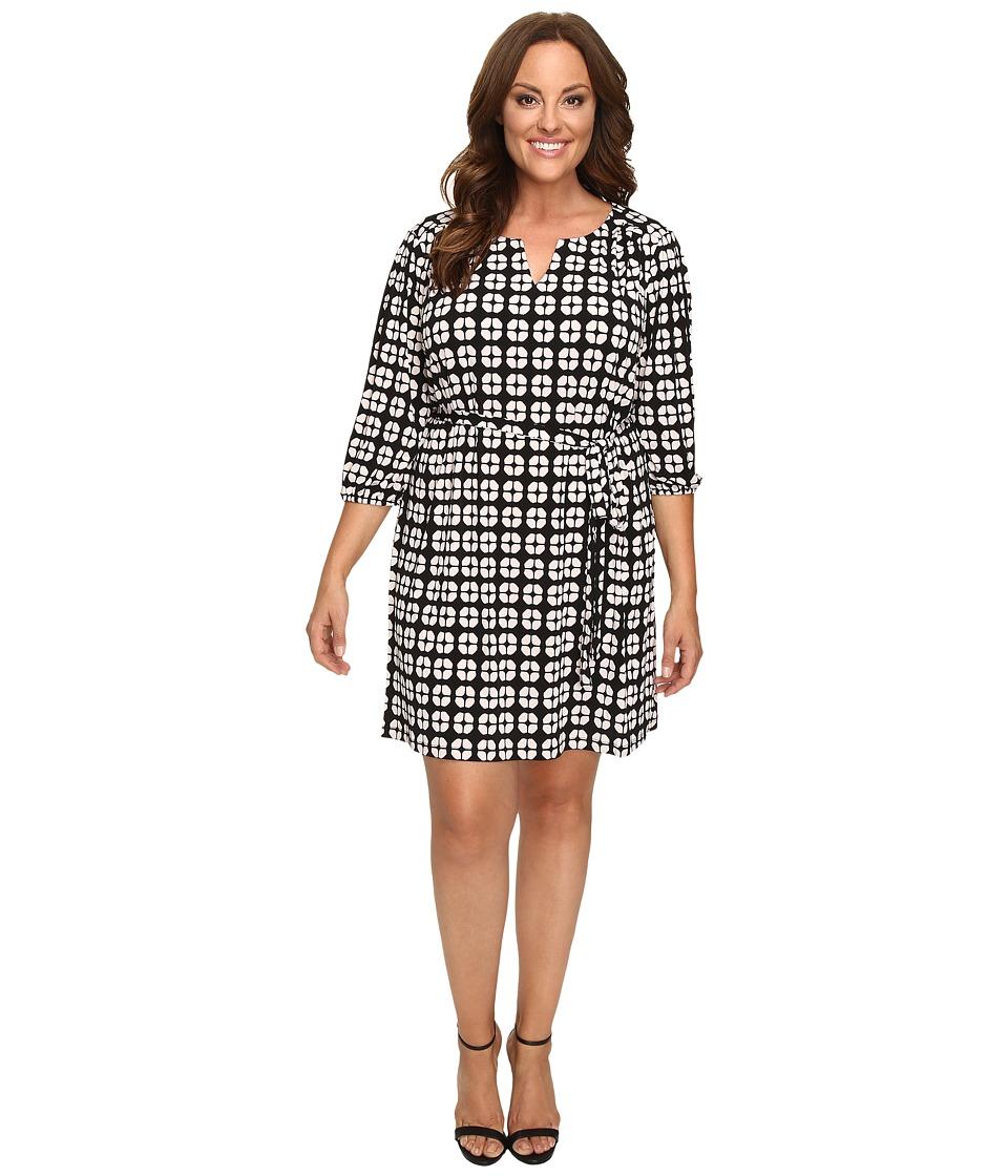 Christin Michaels - Plus Size Kimball Geo Print Dress (Black/Cream) Women's Dress