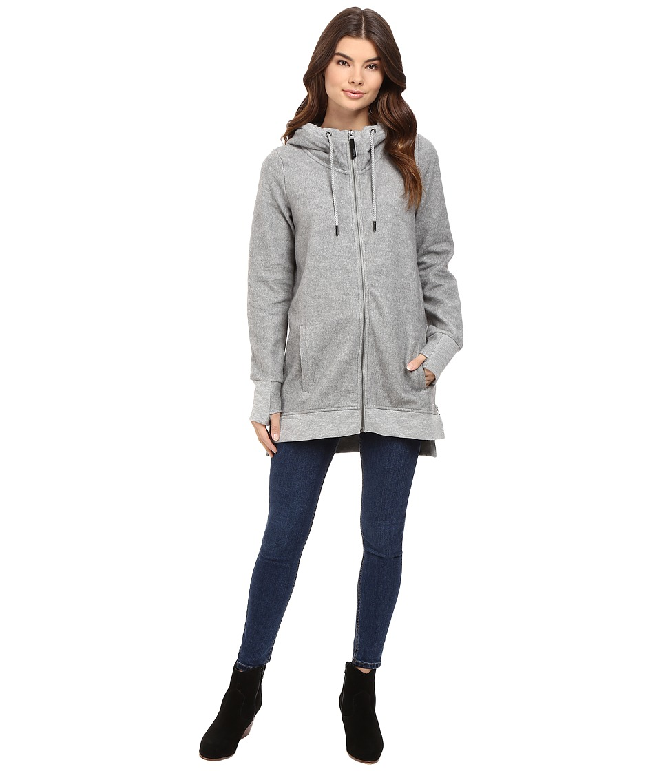 Bench - Dais Long Zip-Up Sweatshirt (Grey Marl) Women's Sweatshirt