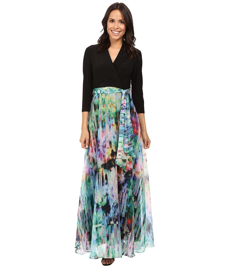 Christin Michaels - Madison Mixed Media Maxi (Black/Multi) Women's Dress
