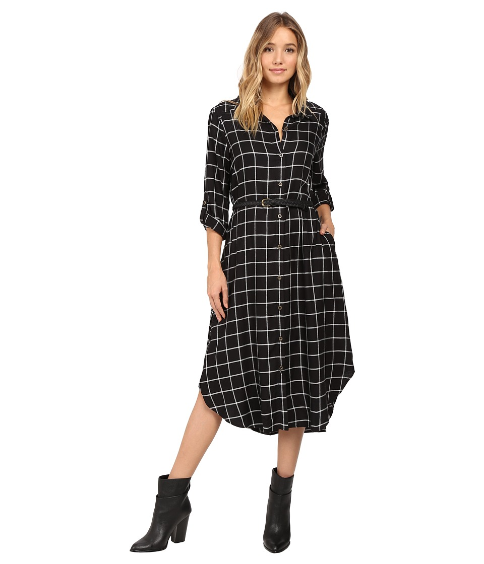 Christin Michaels - Plaid Shirtdress Hard Belt (Black/White) Women's Dress