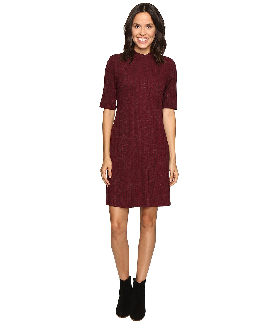 Christin Michaels - Marietta Mock Neck Swing Dress (Burgundy) Women's Dress