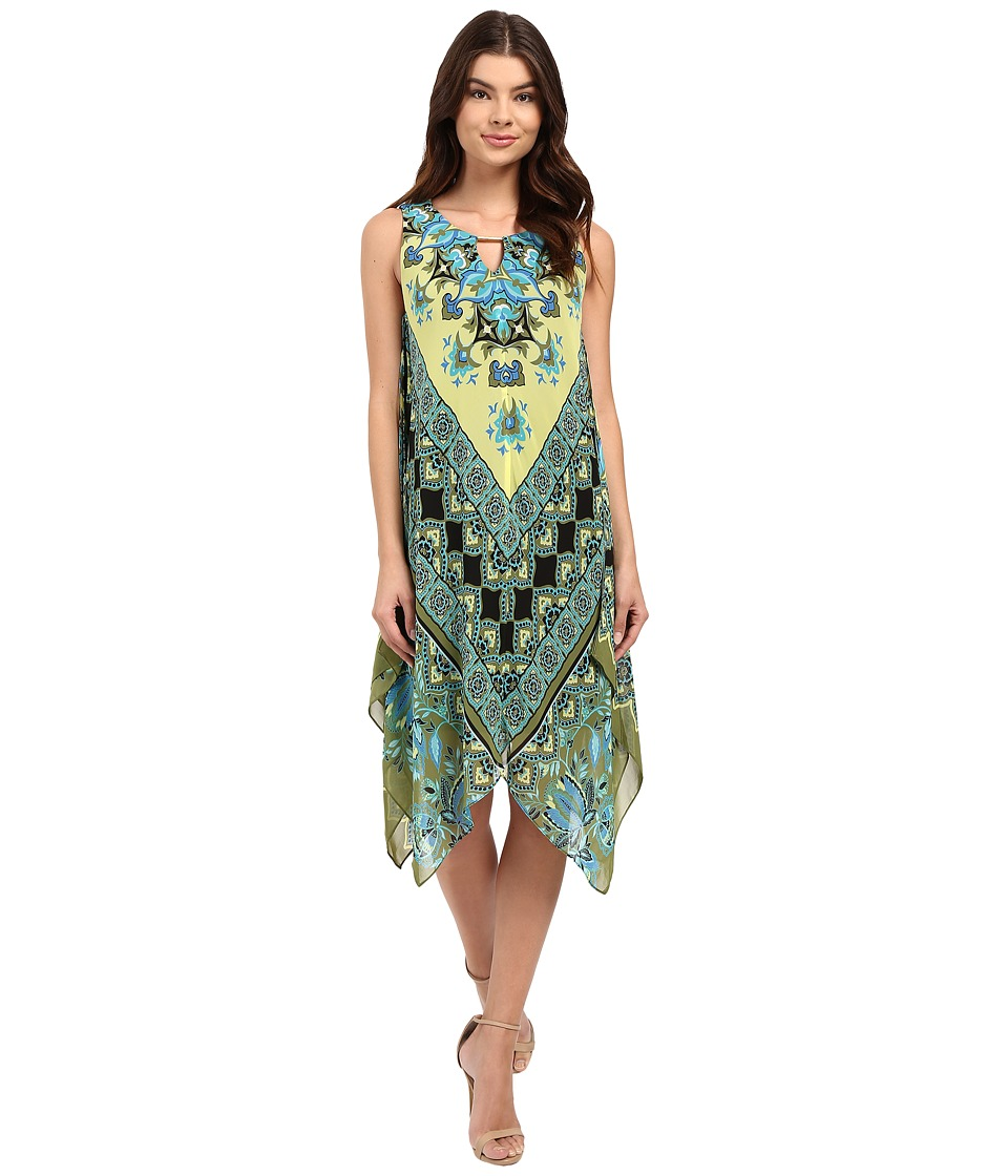 Christin Michaels - Marsha Printed Dress (Yellow) Women's Dress