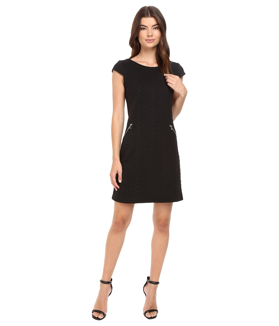 Christin Michaels - Sarah Cap Sleeve Shift Dress (Black) Women's Dress
