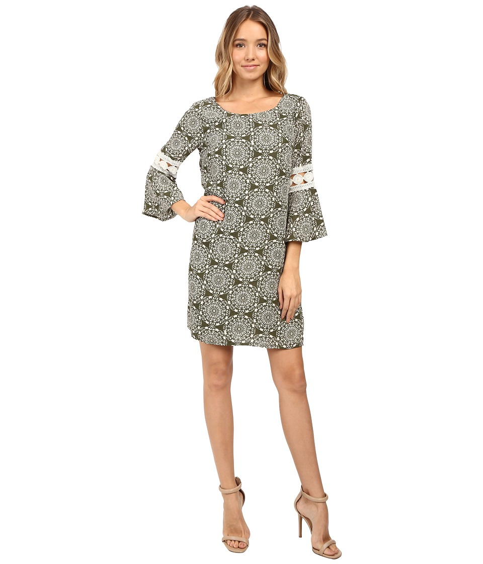 Christin Michaels - Lexington Crochet Sleeve Dress (Olive Cream) Women's Dress