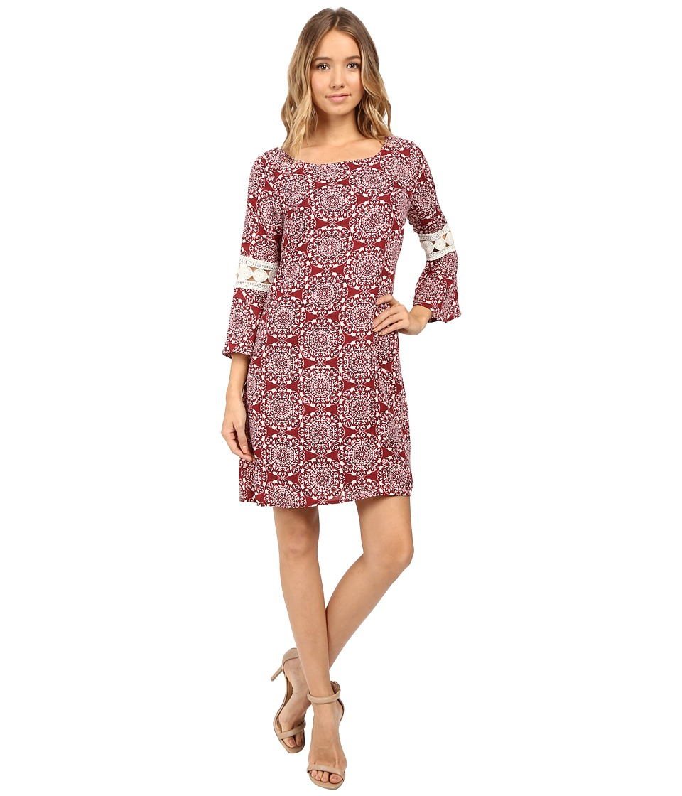 Christin Michaels - Lexington Crochet Sleeve Dress (Burgundy Cream) Women's Dress